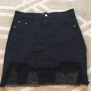 Dresses & Skirts - Distressed Black Netted Denim Skirt